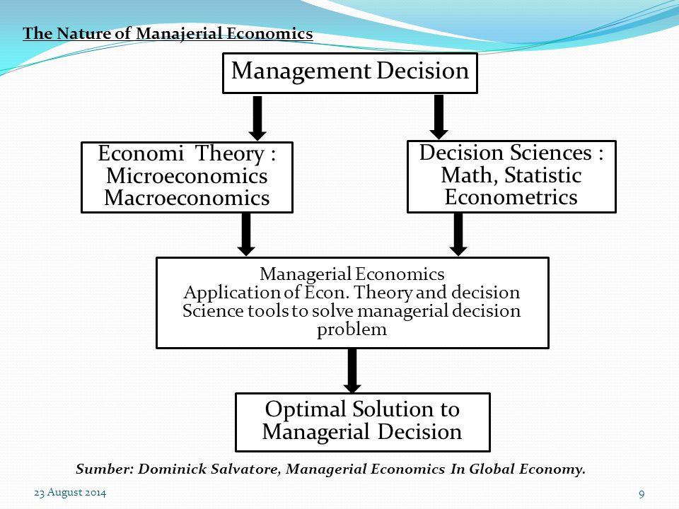 23 August 20148 Ekonomi manajerial dapat didefinisikan sebagai aplikasi dari teori ekonomi terutama teori ekonomi mikro, serta berbagai alat dalam ana