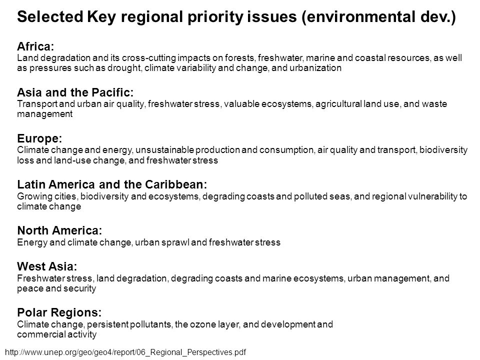 Selected Key regional priority issues (environmental dev.) Africa: Land degradation and its cross-cutting impacts on forests, freshwater, marine and c