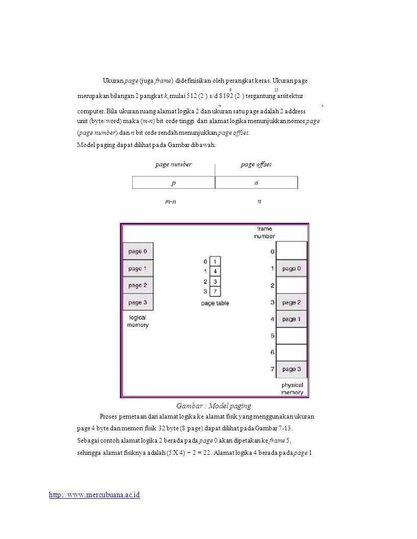 Ukuran page (juga frame) didefinisikan oleh perangkat keras.