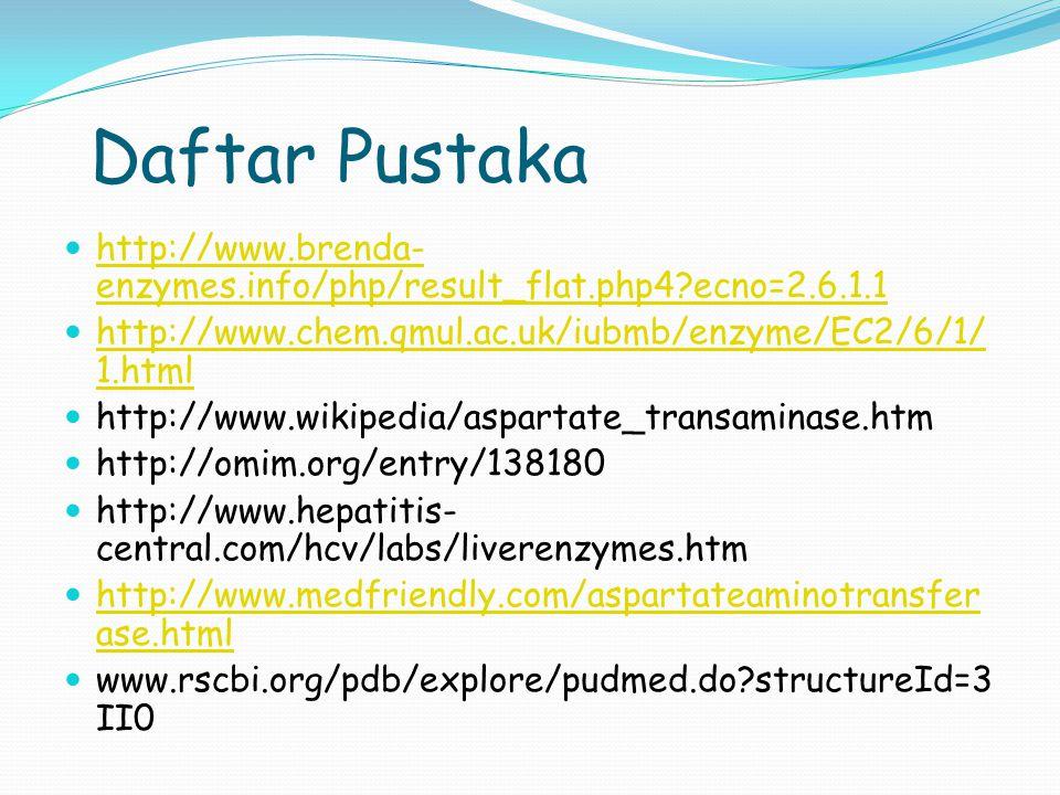 Daftar Pustaka http://www.brenda- enzymes.info/php/result_flat.php4?ecno=2.6.1.1 http://www.brenda- enzymes.info/php/result_flat.php4?ecno=2.6.1.1 htt