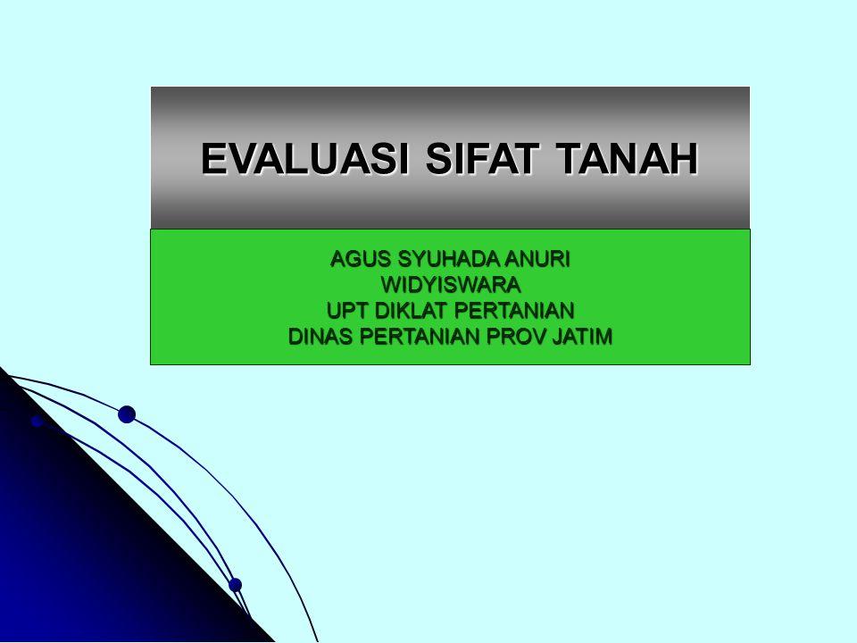 EVALUASI SIFAT TANAH AGUS SYUHADA ANURI WIDYISWARA UPT DIKLAT PERTANIAN DINAS PERTANIAN PROV JATIM