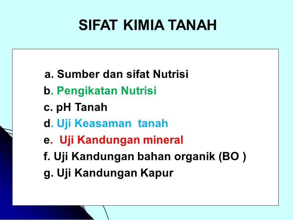 SIFAT KIMIA TANAH a. Sumber dan sifat Nutrisi b. Pengikatan Nutrisi c. pH Tanah d. Uji Keasaman tanah e. Uji Kandungan mineral f. Uji Kandungan bahan