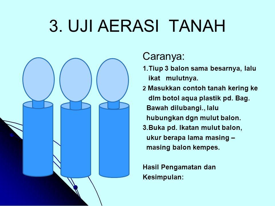 3. UJI AERASI TANAH Caranya: 1.Tiup 3 balon sama besarnya, lalu ikat mulutnya. 2 Masukkan contoh tanah kering ke dlm botol aqua plastik pd. Bag. Bawah