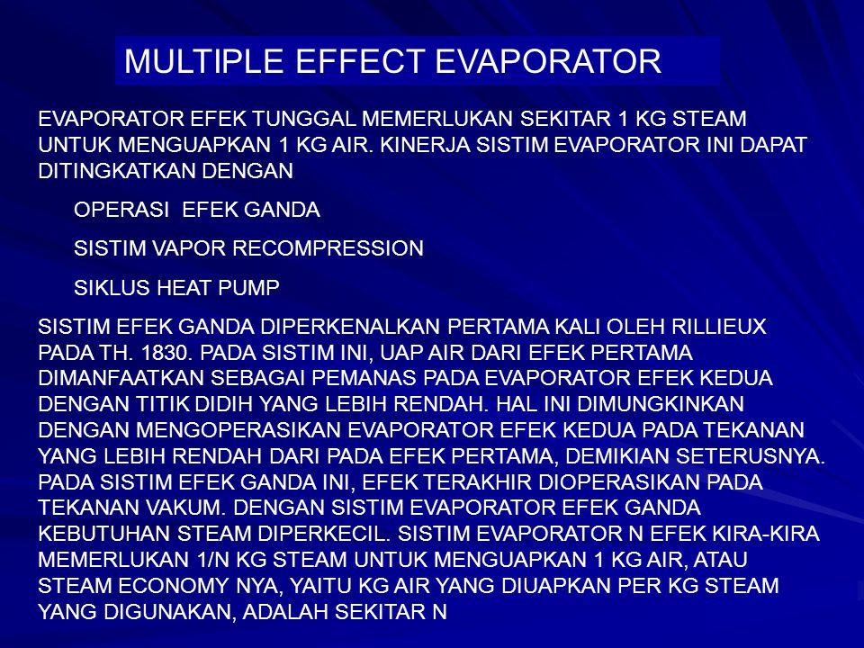 MULTIPLE EFFECT EVAPORATOR EVAPORATOR EFEK TUNGGAL MEMERLUKAN SEKITAR 1 KG STEAM UNTUK MENGUAPKAN 1 KG AIR. KINERJA SISTIM EVAPORATOR INI DAPAT DITING