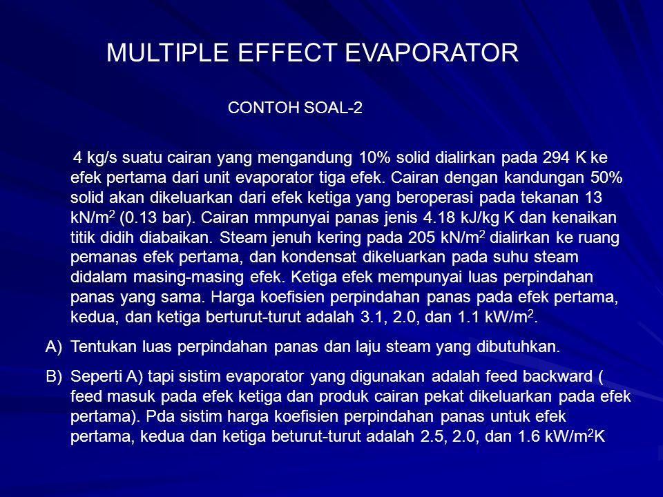 CONTOH SOAL-2 4 kg/s suatu cairan yang mengandung 10% solid dialirkan pada 294 K ke efek pertama dari unit evaporator tiga efek. Cairan dengan kandung
