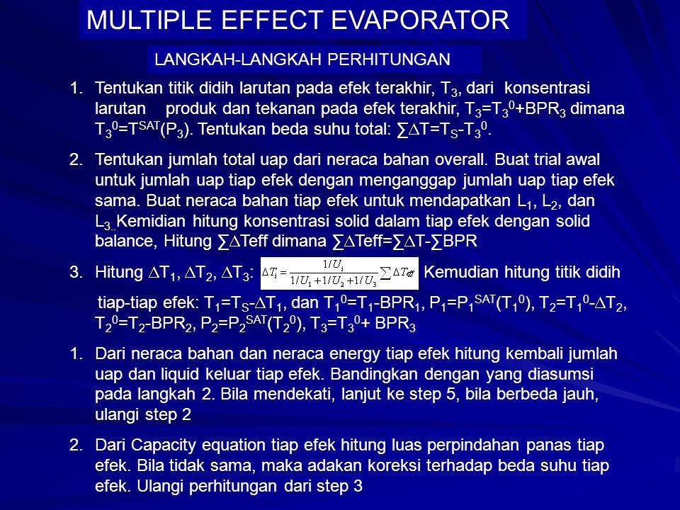 S F,X F L 1, X 1 L 2, X 2 L 3, X 3 V1V1 V2V2 V3V3 MULTIPLE EFFECT EVAPORATOR MATERIAL BALANCE: SISTIM TOTAL: F = L 3 + (V 1 +V 2 +V 3 ) F X F = L 3 X 3 EFEK 1: F = L 1 +V 1 (OVERALL) ; F X F = L 1 X 1 (SOLID) EFEK 2: L 1 = L 2 + V 2 (OVERALL); L 1 X 1 = L 2 X 2 (SOLID) EFEK 3: L 2 = L 3 + V 3 (OVERALL); L 2 X 2 = L 3 X 3 (SOLID)