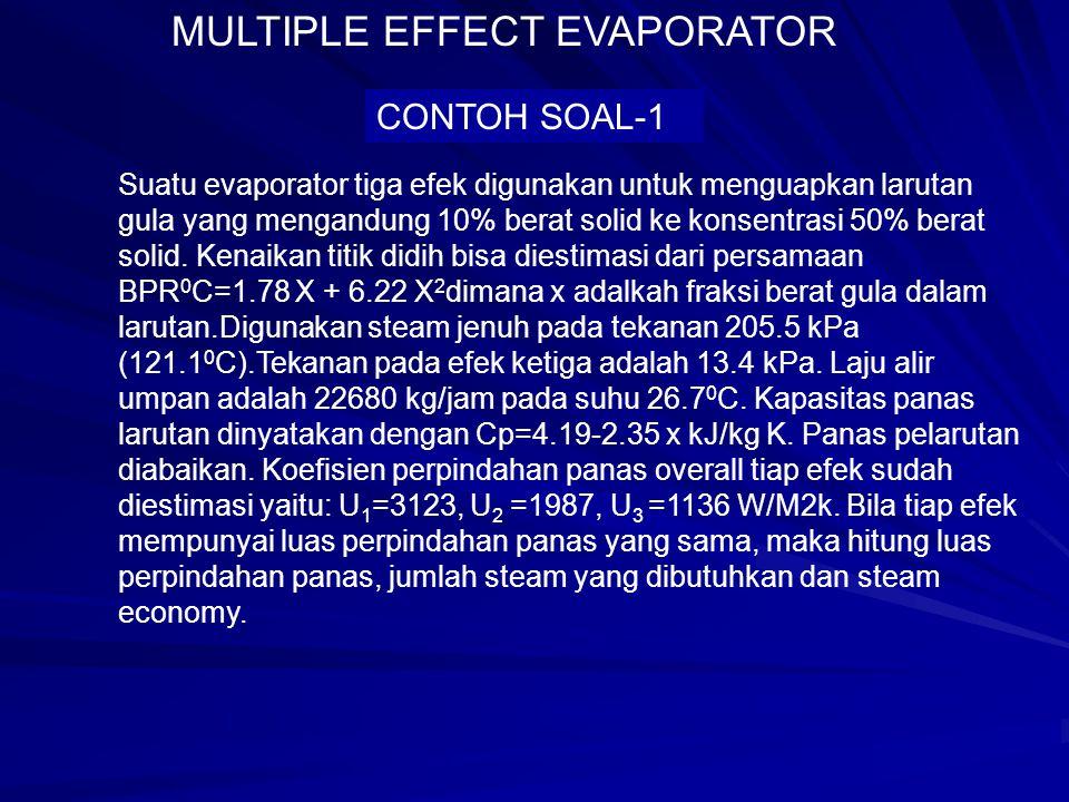 CONTOH SOAL-1 Suatu evaporator tiga efek digunakan untuk menguapkan larutan gula yang mengandung 10% berat solid ke konsentrasi 50% berat solid. Kenai