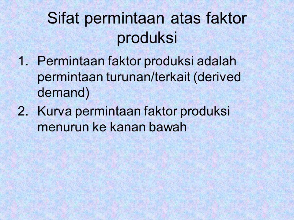 Sifat permintaan atas faktor produksi 1.Permintaan faktor produksi adalah permintaan turunan/terkait (derived demand) 2.Kurva permintaan faktor produk