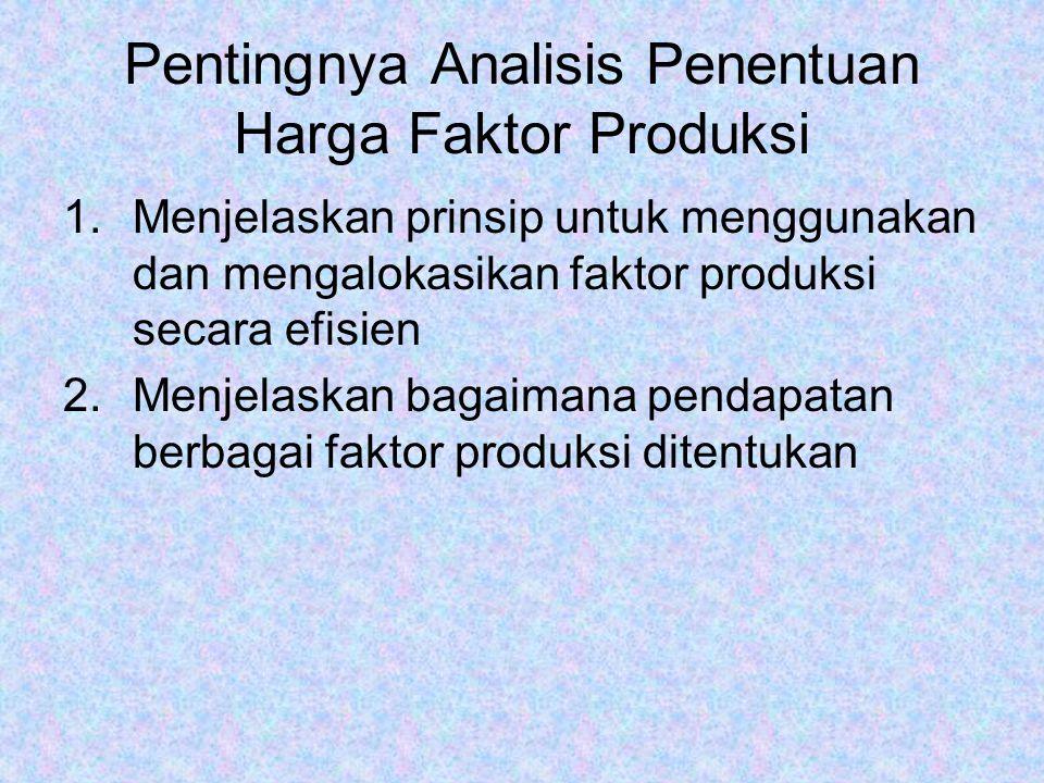 Pentingnya Analisis Penentuan Harga Faktor Produksi 1.Menjelaskan prinsip untuk menggunakan dan mengalokasikan faktor produksi secara efisien 2.Menjelaskan bagaimana pendapatan berbagai faktor produksi ditentukan