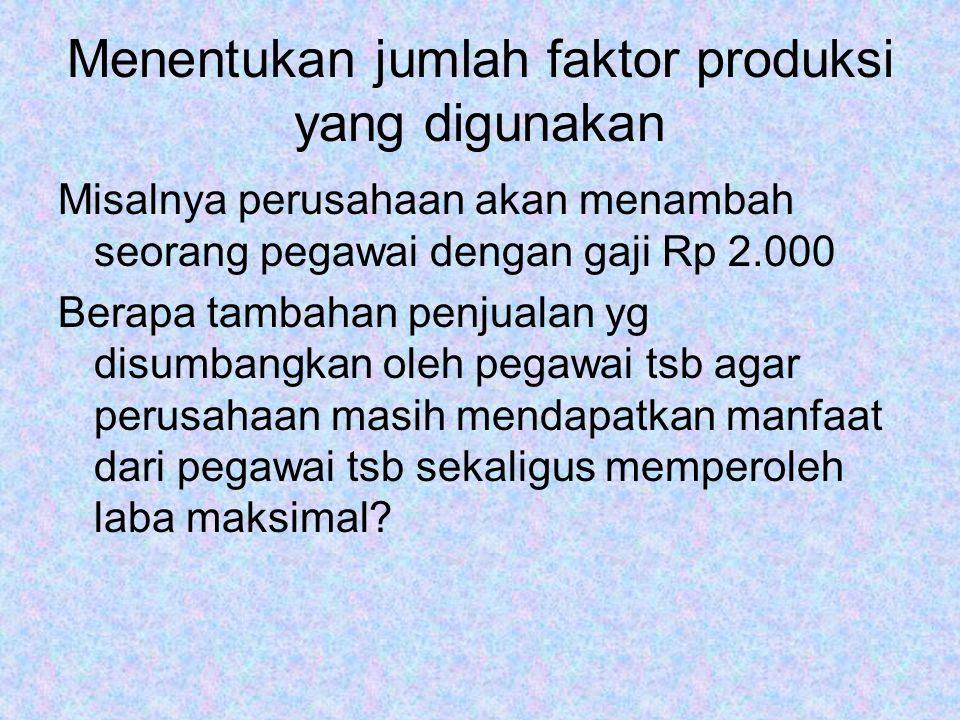 Menentukan jumlah faktor produksi yang digunakan Misalnya perusahaan akan menambah seorang pegawai dengan gaji Rp 2.000 Berapa tambahan penjualan yg d