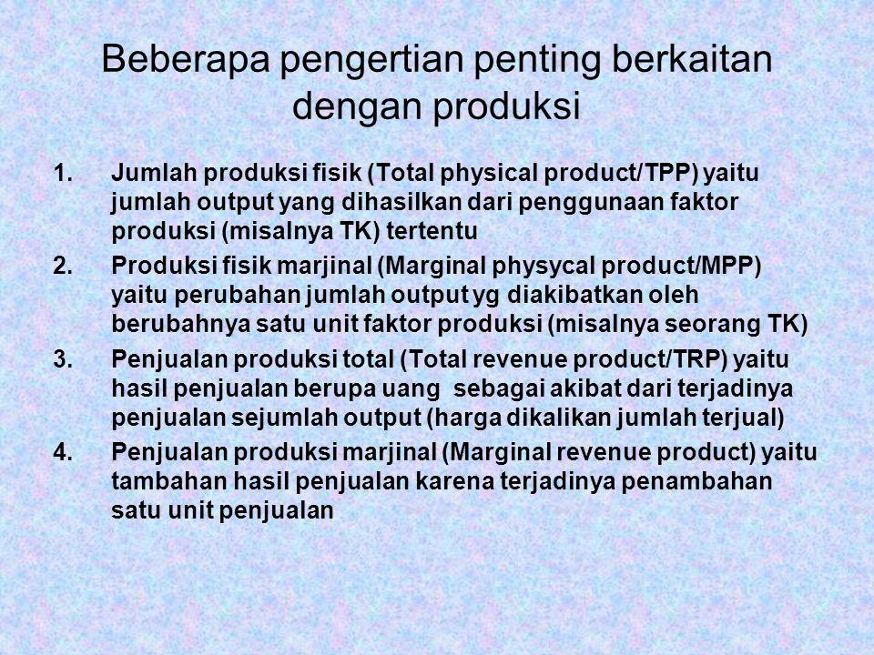 Beberapa pengertian penting berkaitan dengan produksi 1.Jumlah produksi fisik (Total physical product/TPP) yaitu jumlah output yang dihasilkan dari pe