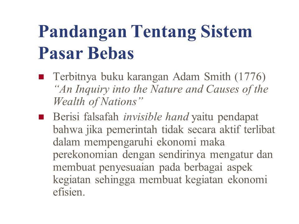 "Pandangan Tentang Sistem Pasar Bebas Terbitnya buku karangan Adam Smith (1776) ""An Inquiry into the Nature and Causes of the Wealth of Nations"" Berisi"