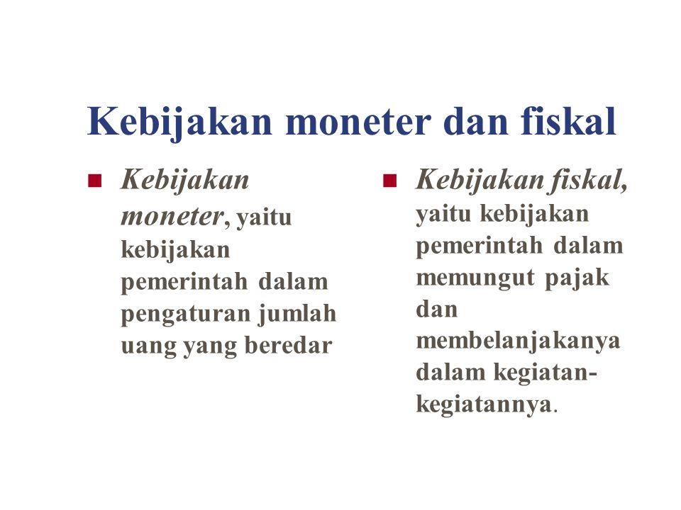 Kebijakan moneter dan fiskal Kebijakan moneter, yaitu kebijakan pemerintah dalam pengaturan jumlah uang yang beredar Kebijakan fiskal, yaitu kebijakan