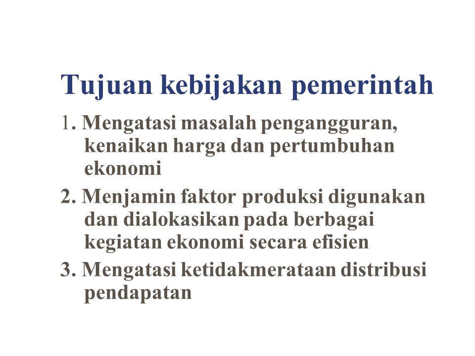 Tujuan kebijakan pemerintah 1. Mengatasi masalah pengangguran, kenaikan harga dan pertumbuhan ekonomi 2. Menjamin faktor produksi digunakan dan dialok