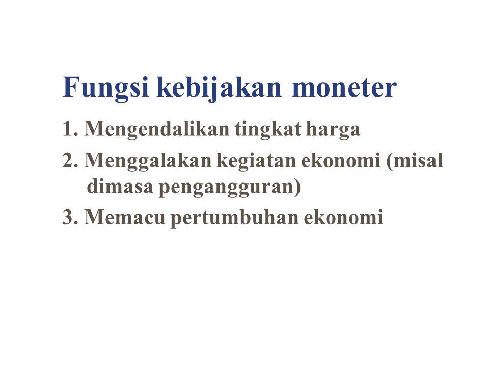 Fungsi kebijakan moneter 1. Mengendalikan tingkat harga 2. Menggalakan kegiatan ekonomi (misal dimasa pengangguran) 3. Memacu pertumbuhan ekonomi