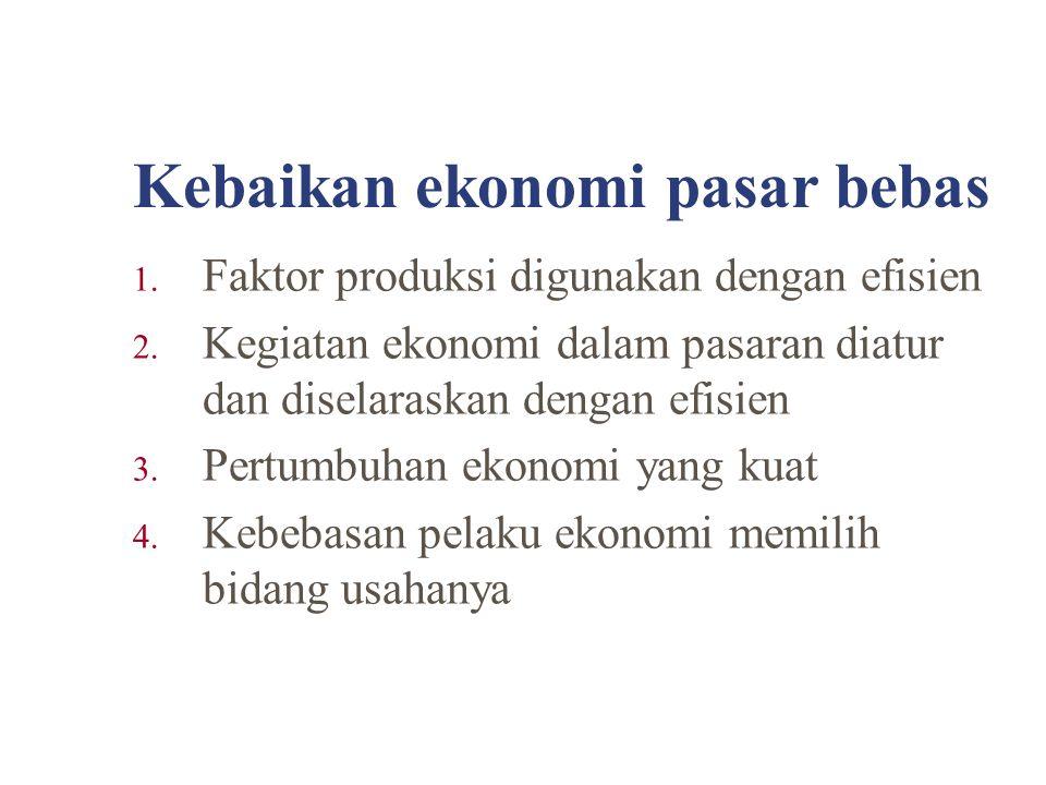 Kebaikan ekonomi pasar bebas 1. Faktor produksi digunakan dengan efisien 2. Kegiatan ekonomi dalam pasaran diatur dan diselaraskan dengan efisien 3. P