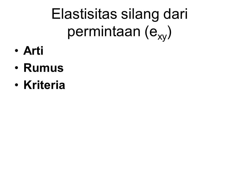 Elastisitas silang dari permintaan (e xy ) Arti Rumus Kriteria