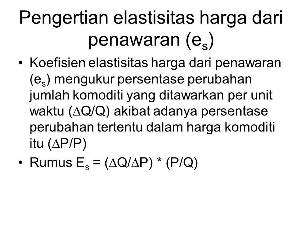 Pengertian elastisitas harga dari penawaran (e s ) Koefisien elastisitas harga dari penawaran (e s ) mengukur persentase perubahan jumlah komoditi yan