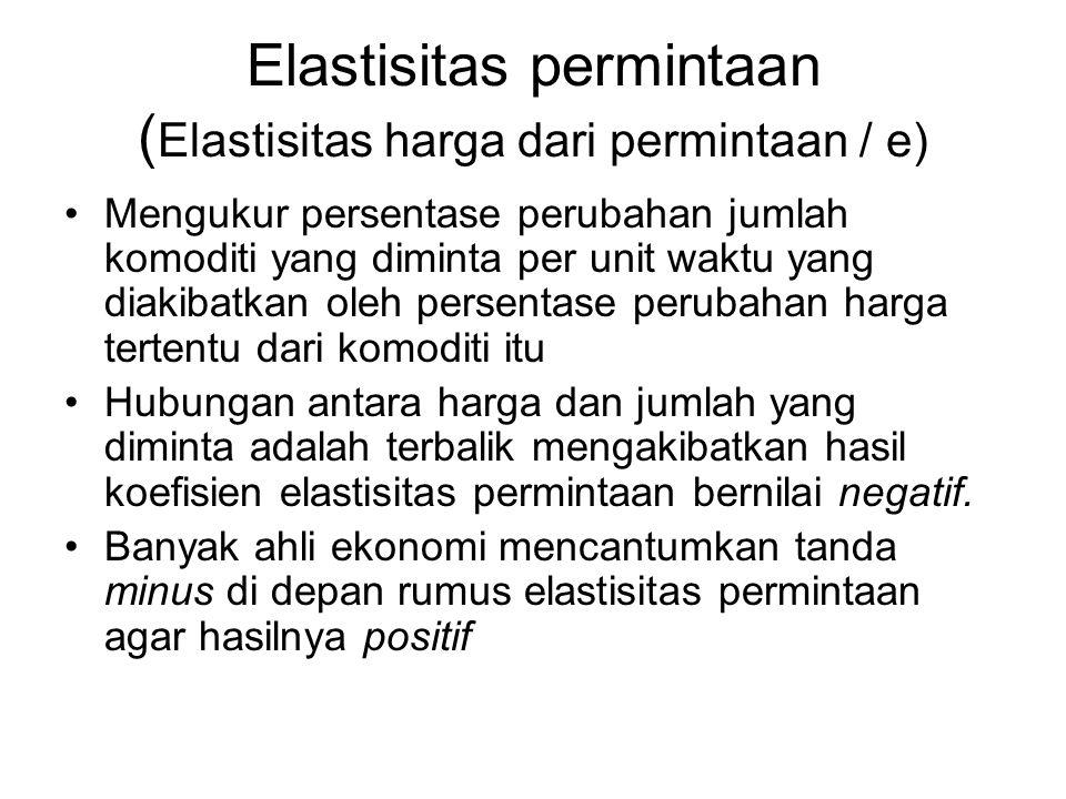 Elastisitas permintaan ( Elastisitas harga dari permintaan / e) Mengukur persentase perubahan jumlah komoditi yang diminta per unit waktu yang diakiba