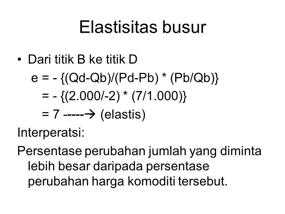 Elastisitas busur Dari titik B ke titik D e = - {(Qd-Qb)/(Pd-Pb) * (Pb/Qb)} = - {(2.000/-2) * (7/1.000)} = 7 -----  (elastis) Interperatsi: Persentas