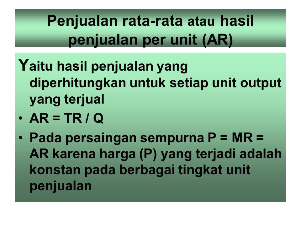 Penjualan marjinal (MR) Yaitu perubahan nilai hasil penjualan perusahaan sbg akibat terjadinya perubahan satu unit penjualan MR = TRn – TRn-1 MR =  T