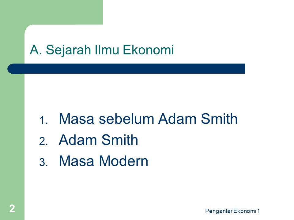 Pengantar Ekonomi 1 2 A. Sejarah Ilmu Ekonomi 1. Masa sebelum Adam Smith 2. Adam Smith 3. Masa Modern