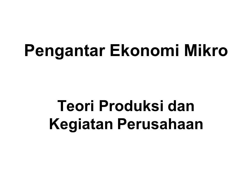 Pengantar Ekonomi Mikro Teori Produksi dan Kegiatan Perusahaan