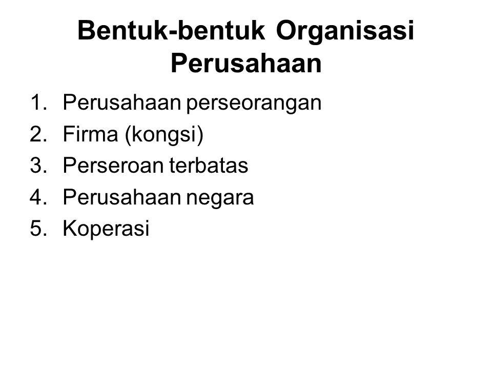 Bentuk-bentuk Organisasi Perusahaan 1.Perusahaan perseorangan 2.Firma (kongsi) 3.Perseroan terbatas 4.Perusahaan negara 5.Koperasi