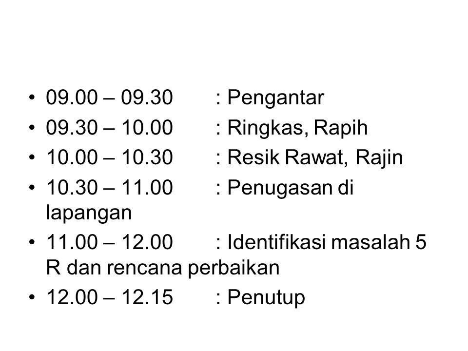 09.00 – 09.30: Pengantar 09.30 – 10.00: Ringkas, Rapih 10.00 – 10.30: Resik Rawat, Rajin 10.30 – 11.00: Penugasan di lapangan 11.00 – 12.00: Identifikasi masalah 5 R dan rencana perbaikan 12.00 – 12.15: Penutup