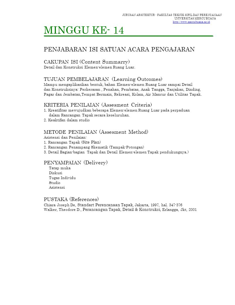 JURUSAN ARSITEKTUR - FAKULTAS TEKNIK SIPIL DAN PERENCANAAN UNIVERSITAS MERCU BUANA http://www.mercubuana.ac.id PERKERASAN