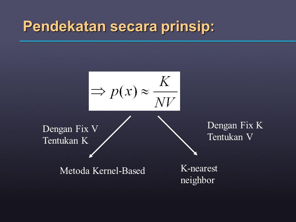 Pendekatan secara prinsip: Dengan Fix V Tentukan K Dengan Fix K Tentukan V Metoda Kernel-Based K-nearest neighbor