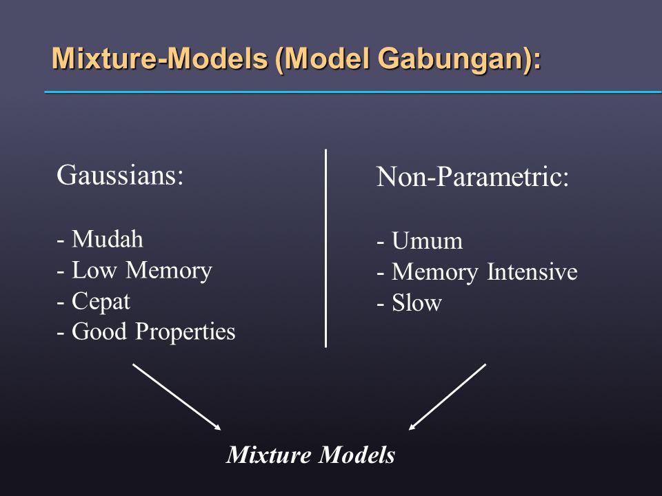 Mixture-Models (Model Gabungan): Gaussians: - Mudah - Low Memory - Cepat - Good Properties Non-Parametric: - Umum - Memory Intensive - Slow Mixture Mo