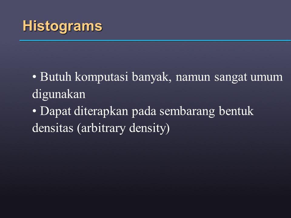 Histograms Butuh komputasi banyak, namun sangat umum digunakan Dapat diterapkan pada sembarang bentuk densitas (arbitrary density)
