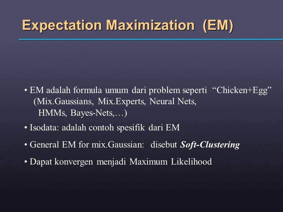 Expectation Maximization (EM) EM adalah formula umum dari problem seperti Chicken+Egg (Mix.Gaussians, Mix.Experts, Neural Nets, HMMs, Bayes-Nets,…) Isodata: adalah contoh spesifik dari EM General EM for mix.Gaussian: disebut Soft-Clustering Dapat konvergen menjadi Maximum Likelihood