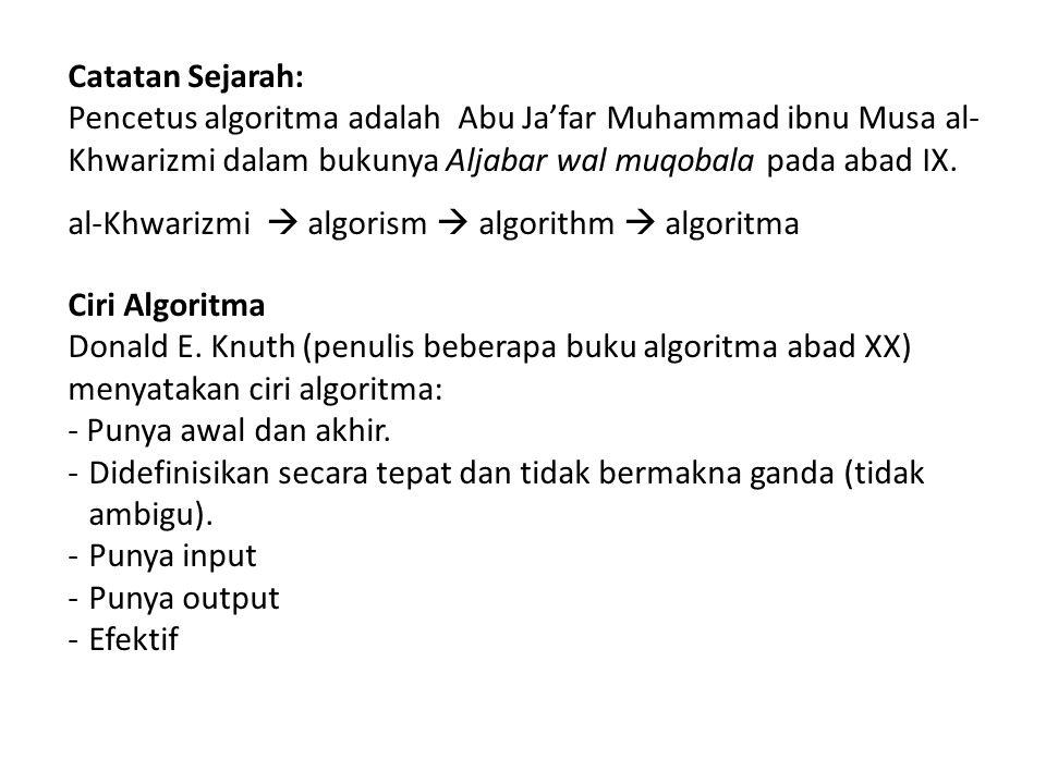Catatan Sejarah: Pencetus algoritma adalah Abu Ja'far Muhammad ibnu Musa al- Khwarizmi dalam bukunya Aljabar wal muqobala pada abad IX. al-Khwarizmi 