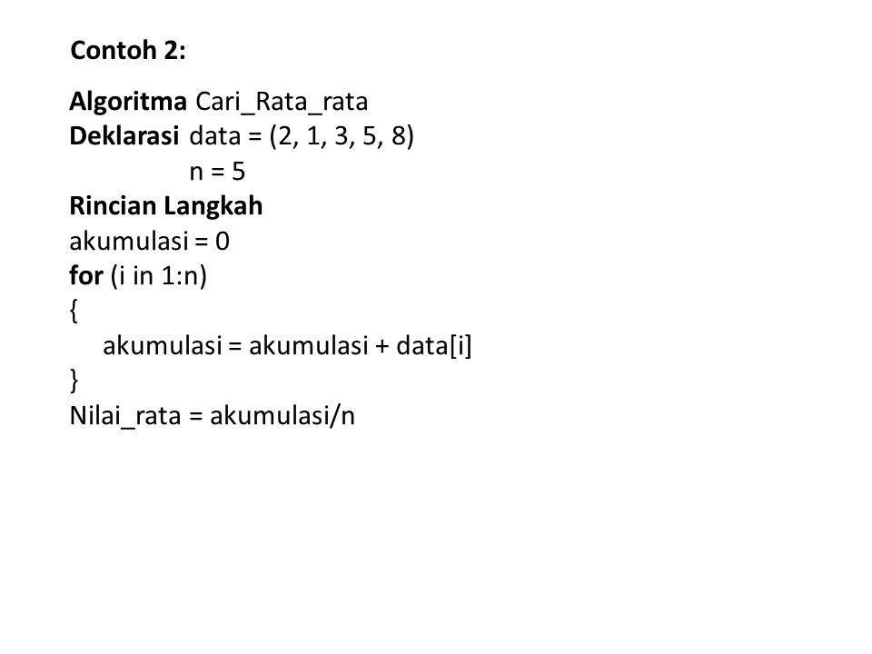 Contoh 2: Algoritma Cari_Rata_rata Deklarasi data = (2, 1, 3, 5, 8) n = 5 Rincian Langkah akumulasi = 0 for (i in 1:n) { akumulasi = akumulasi + data[i] } Nilai_rata = akumulasi/n