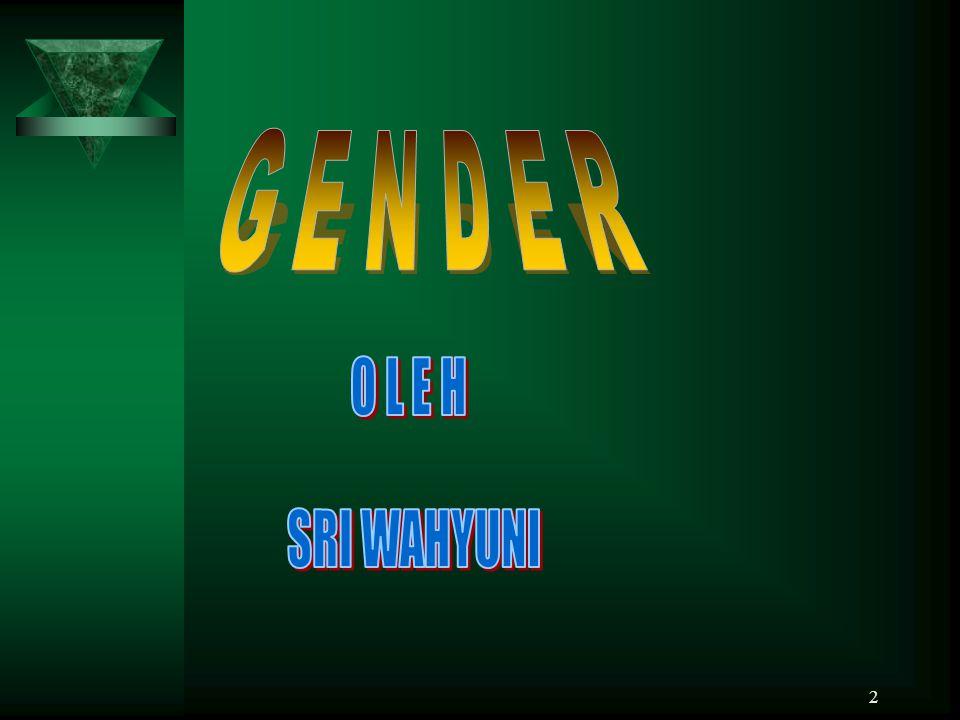 3 GENDER A.Pengertian Gender Gender pd awalnya diambil dari kt dlm bhs arab ~JINSIYYUN~ yg kmdn diadopsi dlm bhs Perancis dan Inggris mjd ~GENDER~ Gender pd awalnya diambil dari kt dlm bhs arab ~JINSIYYUN~ yg kmdn diadopsi dlm bhs Perancis dan Inggris mjd ~GENDER~ Gender : perbedaan antara laki 2 dan pe- Gender : perbedaan antara laki 2 dan pe- rempuan dlm peran,fungsi,hak, rempuan dlm peran,fungsi,hak, tanggung jwb,dan perilaku yg tanggung jwb,dan perilaku yg dibentuk oleh tata nilai sosial,bu- dibentuk oleh tata nilai sosial,bu- daya dan adat istiadat.