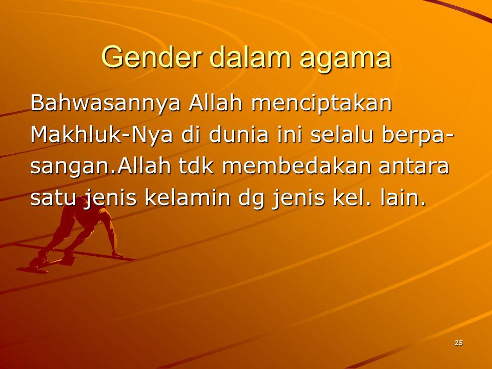 26 ISLAM DAN GENDER Didlm kitab suci Al-Qur an senantiasa Tuhan menegur atau memperingatkan Umat manusia baik laki2 maupun wnt dlm satu kt misal afala ta`qilun(bukan kah kalian org2 yg berakal),afala tatafak karun(bukankah kalian org 2 yg berfikir) `Hadits Sorga ada ditelapak kaki ibu menunjukkan betapa mulianya derajat seorang perempuan dlm keluarga.