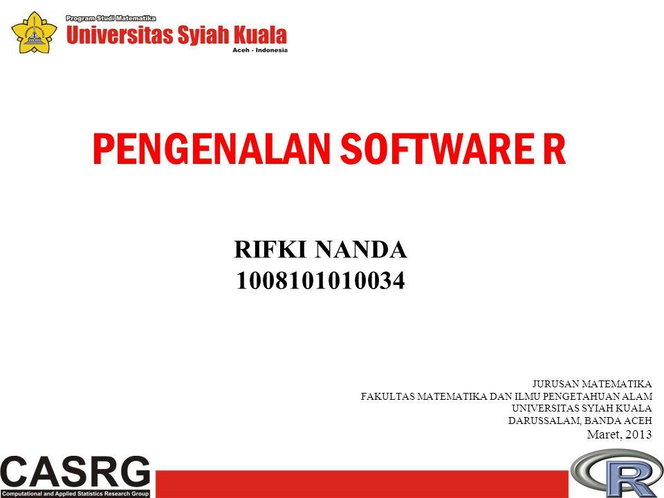 R adalah sebuah free software atau software yang bebas, dibawah lisensi GNU (GNU is Not Unix) General Public Licence, yang menjamin R akan tetap selalu free (bebas).