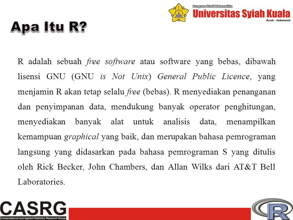 R adalah sebuah free software atau software yang bebas, dibawah lisensi GNU (GNU is Not Unix) General Public Licence, yang menjamin R akan tetap selal