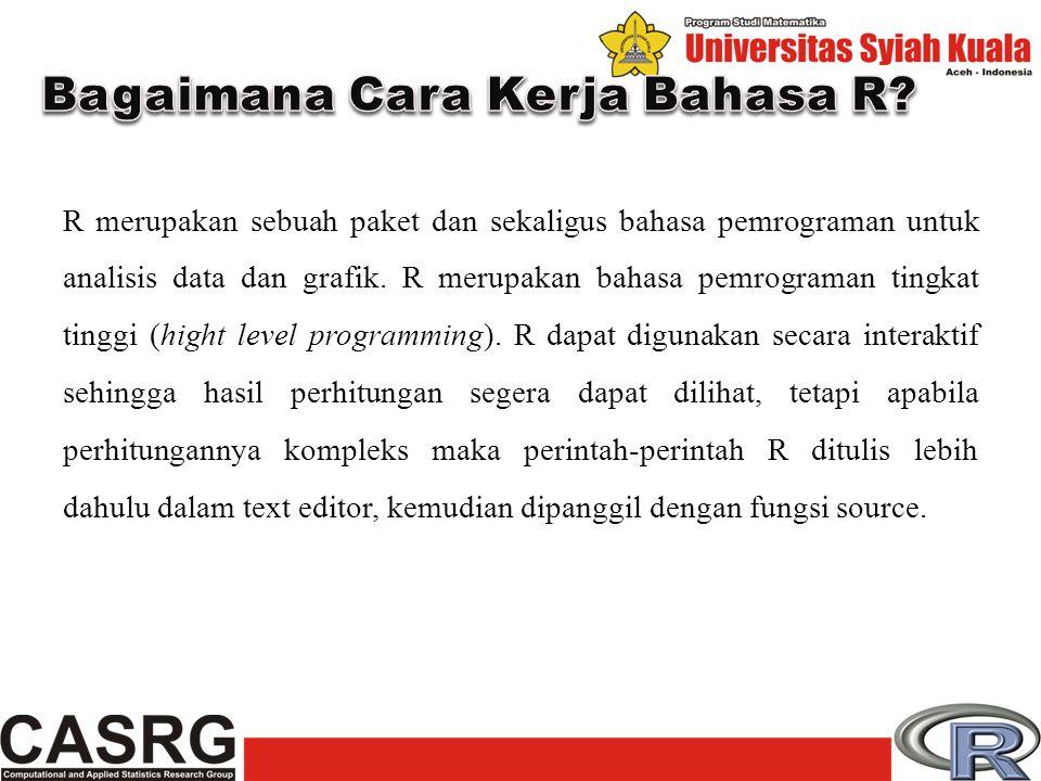 Program R dapat di akses gratis di internet di http://www.r-project.org/.