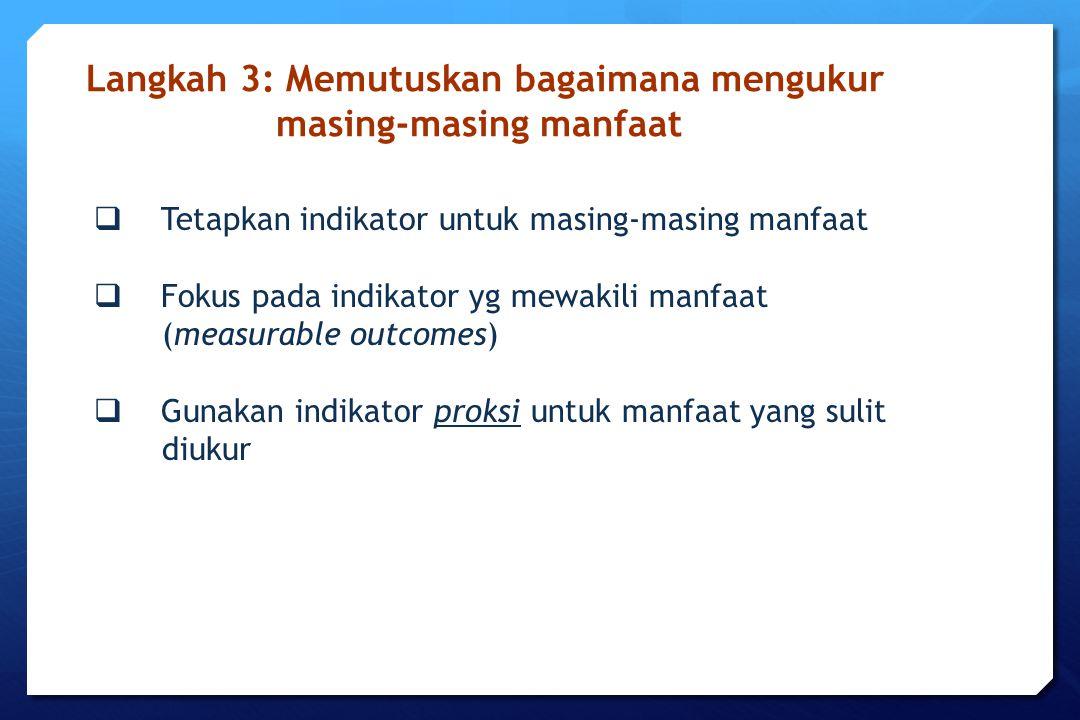  Tetapkan indikator untuk masing-masing manfaat  Fokus pada indikator yg mewakili manfaat (measurable outcomes)  Gunakan indikator proksi untuk man