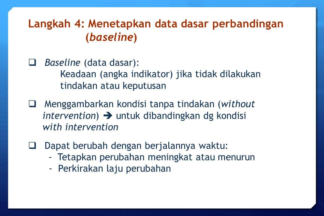  Baseline (data dasar): Keadaan (angka indikator) jika tidak dilakukan tindakan atau keputusan  Menggambarkan kondisi tanpa tindakan (without interv
