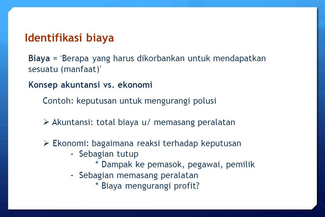 Identifikasi biaya Biaya = ' Berapa yang harus dikorbankan untuk mendapatkan sesuatu (manfaat) ' Konsep akuntansi vs. ekonomi Contoh: keputusan untuk