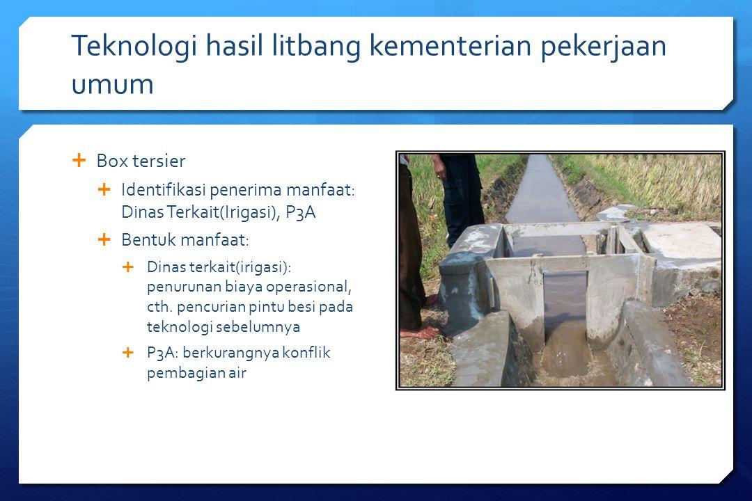 Teknologi hasil litbang kementerian pekerjaan umum  Box tersier  Identifikasi penerima manfaat: Dinas Terkait(Irigasi), P3A  Bentuk manfaat:  Dina