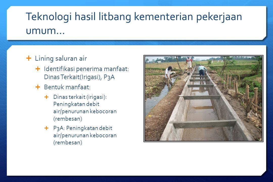 Teknologi hasil litbang kementerian pekerjaan umum…  Lining saluran air  Identifikasi penerima manfaat: Dinas Terkait(Irigasi), P3A  Bentuk manfaat