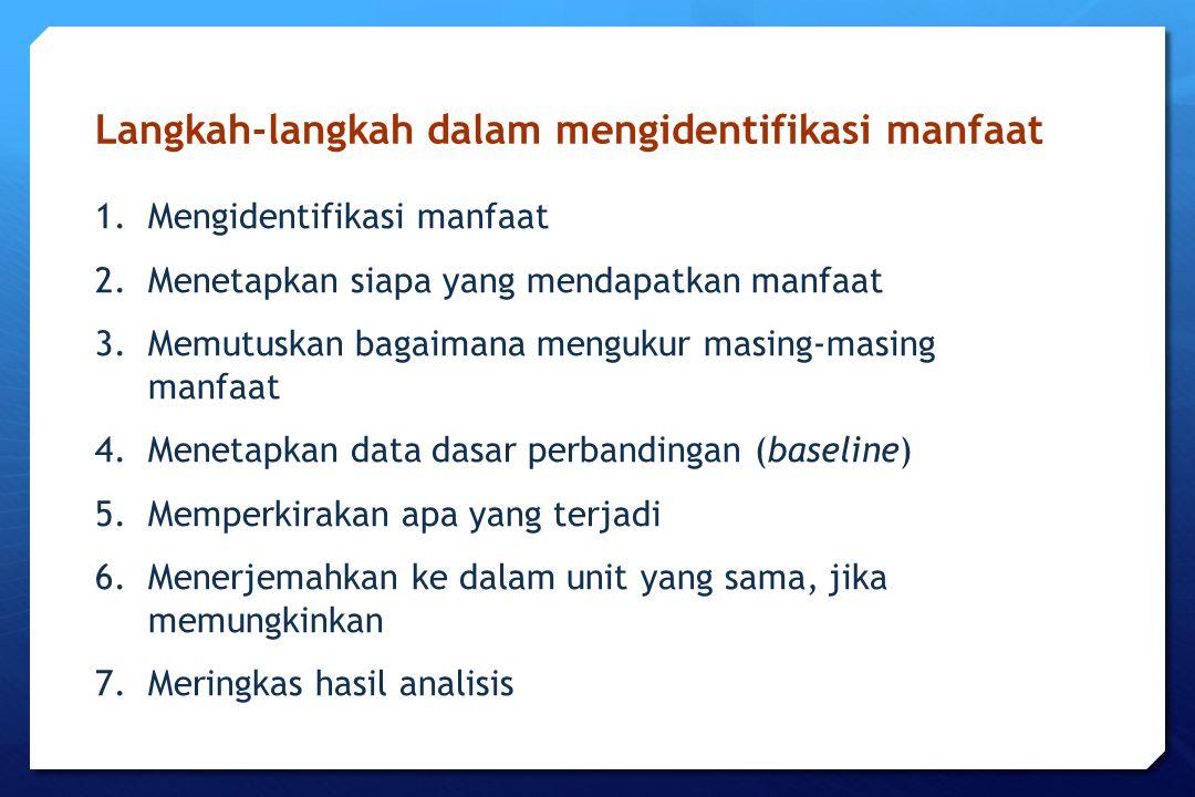 Langkah-langkah dalam mengidentifikasi manfaat 1.Mengidentifikasi manfaat 2.Menetapkan siapa yang mendapatkan manfaat 3.Memutuskan bagaimana mengukur