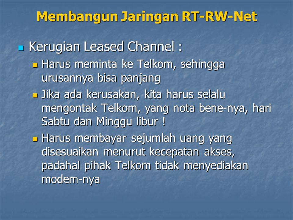 Kerugian Leased Channel : Kerugian Leased Channel : Harus meminta ke Telkom, sehingga urusannya bisa panjang Harus meminta ke Telkom, sehingga urusannya bisa panjang Jika ada kerusakan, kita harus selalu mengontak Telkom, yang nota bene-nya, hari Sabtu dan Minggu libur .