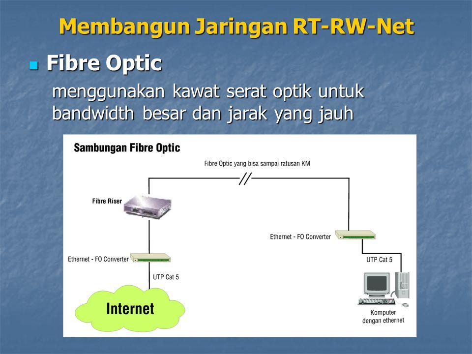 Fibre Optic Fibre Optic menggunakan kawat serat optik untuk bandwidth besar dan jarak yang jauh Membangun Jaringan RT-RW-Net