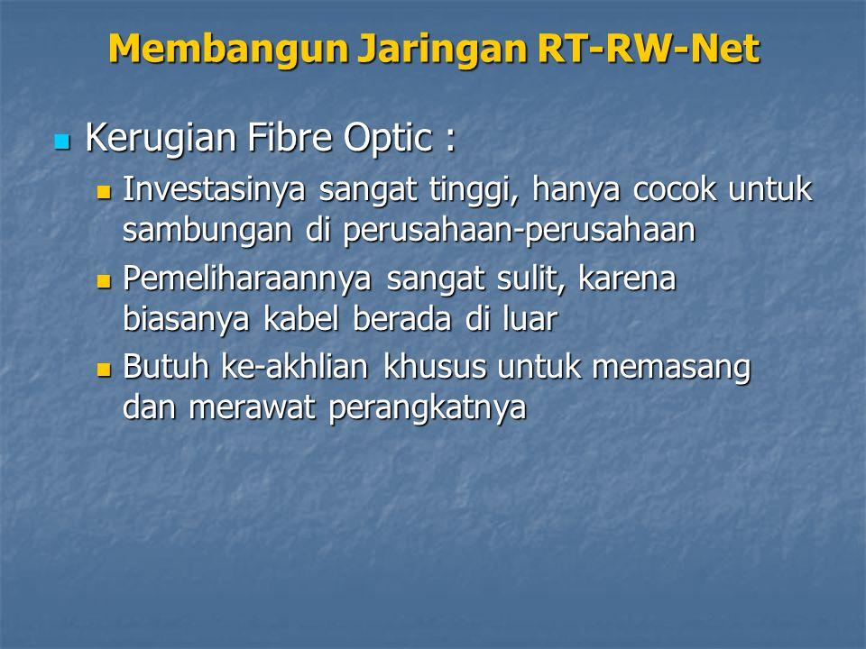 Kerugian Fibre Optic : Kerugian Fibre Optic : Investasinya sangat tinggi, hanya cocok untuk sambungan di perusahaan-perusahaan Investasinya sangat tinggi, hanya cocok untuk sambungan di perusahaan-perusahaan Pemeliharaannya sangat sulit, karena biasanya kabel berada di luar Pemeliharaannya sangat sulit, karena biasanya kabel berada di luar Butuh ke-akhlian khusus untuk memasang dan merawat perangkatnya Butuh ke-akhlian khusus untuk memasang dan merawat perangkatnya Membangun Jaringan RT-RW-Net